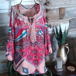 Figueroa & Flowers Anthropologie Boho Top